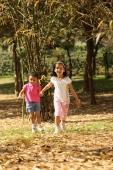 Two sisters running in park - Deepak Budhraja
