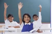 three students with raised hands - Alex Mares-Manton