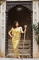 woman in gold sari - Vivek Sharma