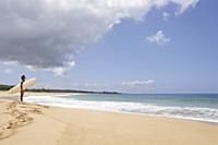 man standing on beach, looking at waves - Yukmin