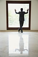businessman standing with hands on window - Alex Mares-Manton
