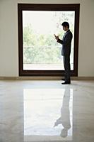 businessman using phone next to window - Alex Mares-Manton