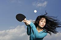 young lady holding ping pong bat - Yukmin