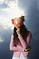 lady wearing pig mask - Yukmin