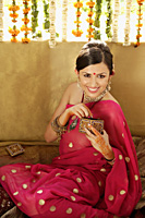 young woman wearing sari and bindi - Alex Mares-Manton