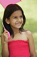 little girl in pink dress, with umbrella - Vivek Sharma