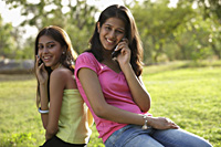Teen girls on mobile phones - Vivek Sharma