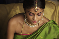 woman wearing sari and decorated with traditional jewelry and bindi - Vivek Sharma