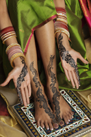 woman's hands and feet painted with henna - Vivek Sharma