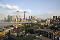 Bird's eye view of Pudong and Puxi from Sichuan Road C.,  Shanghai, P. R. China - OTHK