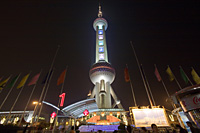 Oriental Pearl TV tower in Liujiazui at night, Pudong, Shanghai, China - OTHK