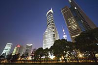 Skyscrapers in Liujiazui at night, Pudong, Shanghai, China - OTHK