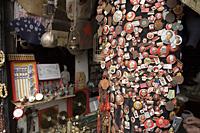 Chairman Mao badges displaying in a souvenir shop,  Yuyuan, Shanghai, China - OTHK
