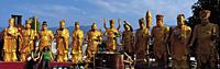 Gold Arhans line up at Ten Thousand Buddhas Temple, Shatin, Hong Kong - OTHK