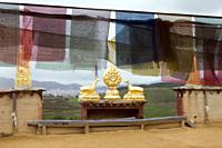 Prayer buntings in Songzanlin Temple, Shangri-la, China - OTHK