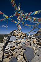 Tibetan stupas on top of Shika snow mountain, Blue Moon Valley, shangri la, shangrila, China - OTHK