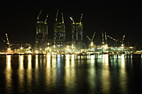 Night shot of construction in Marina Bay, Singapore - Nugene Chiang