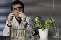 Scientist looking at test tubes. - Yukmin