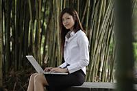 Chinese woman working on laptop in bamboo garden - Yukmin