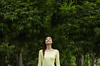 Young woman looking up at bamboo trees - Yukmin