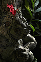 red hibiscus in stone Hindu statue - Alex Mares-Manton