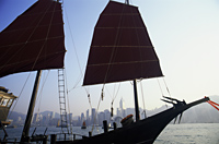 China,Hong Kong,Victoria Harbour,Junk and City Skyline - Travelasia