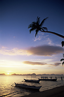 Philippines,Palawan,Bascuit Bay,El Nido,Outriggers on Tropical Beach at Sunset - Travelasia