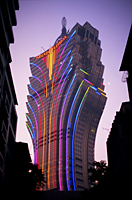 China,Macau,Grand Lisboa Hotel and Casino Night Lights - Travelasia