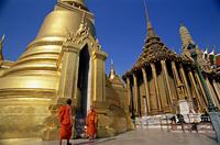 Thailand,Bangkok,Wat Phra Kaew,Monks at the Grand Palace - Travelasia
