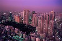 Japan,Tokyo,Shinjuku,Shinjuku Area Skyline with Tokyo Gas Buildings and Tokyo City Hall in the Foreground - Travelasia