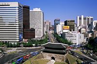 Korea,Seoul,Sungnyemun,South Gate and City Skyline in Background - Travelasia