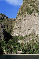 Philippines,Palawan,Bascuit Bay,El Nido,Inabuyutan Island,Hut on Palm Tree Beach - Travelasia
