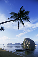 Philippines,Palawan,Bascuit Bay,El Nido,Outriggers on Tropical Beach - Travelasia