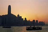 China,Hong Kong,City Skyline and Victoria Harbour at Dusk - Travelasia