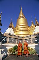 Thailand,Bangkok,Wat Phra Kaew,Grand Palace,Monks - Travelasia