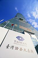 Taiwan,Taipei,Taiwan Stock Exchange Sign and Taipei 101 Skyscraper (1667 feet) - Travelasia