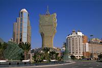 China,Macau,City Skyline with Grand Lisboa Hotel and Casino - Travelasia