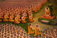 Thailand,Chiang Mai,Lamphun,Wat Haripunchai,Wall Mural depicting Life of Buddha - Travelasia