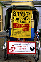Thailand,Chiang Mai,Child Protection Sign on Trishaw Taxi - Travelasia