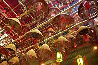 China,Hong Kong,Hollywood Road,Incense Coils in Man Mo Temple - Travelasia