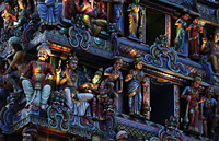 Close up of carvings on Hindu temple at night - Alex Mares-Manton
