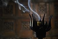 Incense burning in lotus incense burner - Alex Mares-Manton