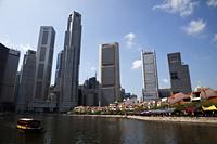 Singapore,Tour Boats on Singapore River and City Skyline - Travelasia