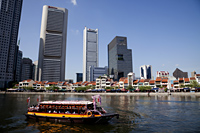Singapore,Tour Boats on Singapore River and City Skyline - Travelasia