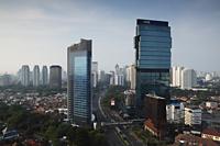 Skyline of skyscrapers along Jalan Jend Sudirman, Jakarta, Indonesia - Martin Westlake