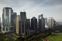 Skyscrapers along Jalan Jend Sudirman-Senayan, including Jakarta stock exchange building - Martin Westlake