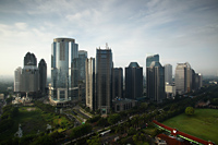 Office buildings and skyscrapers along Jalan Jend Sudirman-Senayan, including Jakarta stock exchange, Indonesia - Martin Westlake