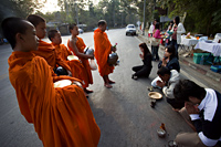 Thailand,Chiang Mai,Monks Receiving Offerings of Food - Travelasia