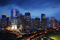 Night view of skyscrapers along Jalan Jend Sudirman-Senayan, Jakarta - Martin Westlake