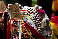 Thailand,Golden Triangle,Chiang Mai,Detail of Aka Headwear - Travelasia